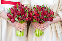 Red tulip weddding bouquets Royalty Free Stock Images