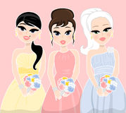 Bridesmaids. Illustration of three bridesmaids holding a bouquet of flowers Stock Photo