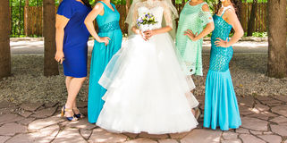 Free Bridesmaids Outdoors On The Wedding Day Royalty Free Stock Image - 70026706