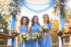 Bridesmaids in park. On the wedding day stock photo