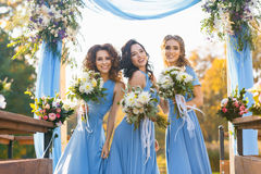 Bridesmaids in park. On the wedding day stock images