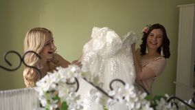 Bridesmaids are playing with a wedding dress. Happy women in dresses. Very funny girls stock video