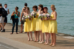 Bridesmaids Prepare For Photo Shoot On Waterfront royalty free stock photo