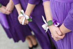 Bridesmaids ribbon hans royalty free stock photography