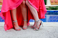 Bridesmaids shoes. Royalty Free Stock Photo