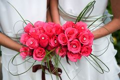 Bridesmaids with vibrant pink bouquets Royalty Free Stock Photo