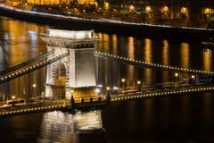 Bridg della catena di Budapest Fotografie Stock Libere da Diritti