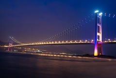 Bridge 1. Hong Kong Famous Tsing Ma Bridge which connecting the Lantau Island(the Hong Kong International Airport) to the city Stock Image