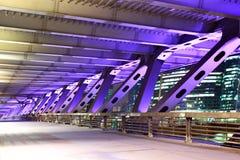 Bridge. Element of modern bridge with illuminations at night Stock Image
