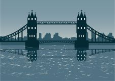 Bridge. London cityscape illustration with bridge Royalty Free Stock Images
