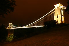Bridge. The Clifton Suspension Bridge, by night Stock Images