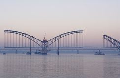 Bridge. Across Irrawaddy in Myanmar Royalty Free Stock Photography