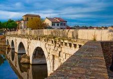 Bridge. Rural bridge with blue sky and river Royalty Free Stock Image