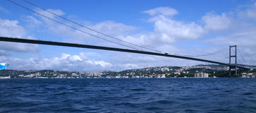 Bridge. Across bospurus strait connecting europe and asia Royalty Free Stock Photo