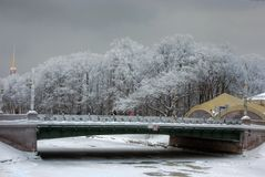 Bridge. Winter landscape, in the foreground the bridge through the channel Royalty Free Stock Photos