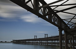 Bridge. Iron Bridge in the port of Huelva, Spain royalty free stock photo