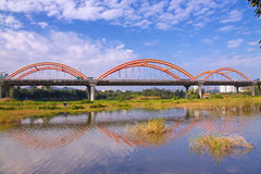 Bridge. One looks like a rainbow bridge and its reflection in the water is very beautiful, the bridge's name is also called the Rainbow Bridge, which is located Stock Images