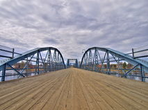 Bridge. Old bridge and dramatic sky Royalty Free Stock Photo