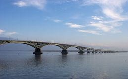 Bridge. The bridge through the river Volga. Russia. Saratov stock photos