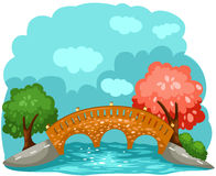 Bridge. Illustration of landscape cartoon bridge Stock Image