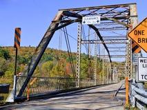 Bridge. One line bridge over Delaware river. Catskills Mountain, Upstate New York Stock Photography