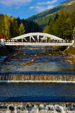 The bridge. Bridge across the river Elbe in city of Spindleruv mlyn in Czech republic Stock Photography
