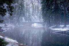 Bridge. A bridge over a foggy river in Yosemite National Park Royalty Free Stock Photo