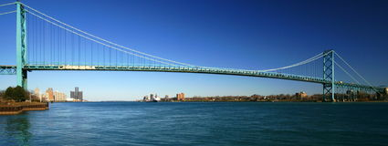 Bridge. The Ambassador Bridge at Detroit, Michigan, crosses the Detroit River to connect the United States with Canada. The Canadian city of Windsor is seen on Stock Photo