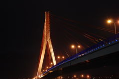 Bridge. At night. Under  - view Stock Photo
