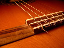 Bridge. Classical guitar bridge. Rosewood bridge on a cedar top Stock Image