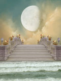 Bridge. In the ocean with big moon and flowers Stock Photography