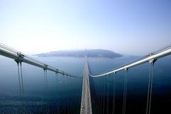 Bridge. Hanging bidge over the sea Stock Photo
