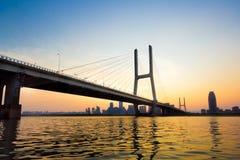 Bridge. Named bayi bridge in the night of shanghai china Royalty Free Stock Image