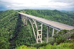 Bridge. Tall bridge over a green valley in Cuba Stock Image