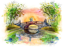 On the bridge Royalty Free Stock Photo