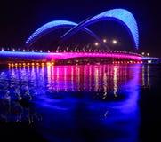 Bridge. Night lights lighting bridge is very beautiful Royalty Free Stock Photos