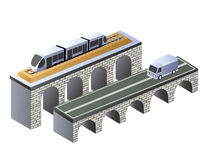 Bridge. Isometric projection of the urban area of the road on the bridge Royalty Free Stock Image