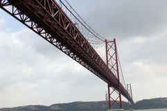Bridge 25 of April in Lisbon (Portugal) Royalty Free Stock Image