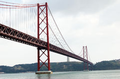 Bridge 25 of April in Lisbon (Portugal) Stock Photo