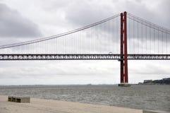 Bridge of 25 July at Belem Stock Photo