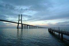 Bridge. And pier Royalty Free Stock Image