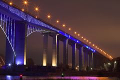 Bridge. At night,Varna,Bulgaria Royalty Free Stock Photo