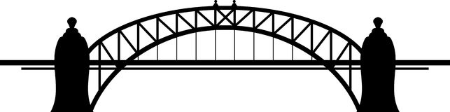 Bridge. Black silhouette of bridge on white background Stock Photo