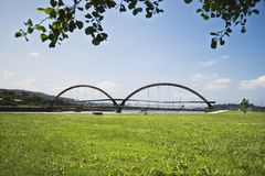 Bridge. Landscape park and sea bridge in Spain Royalty Free Stock Images