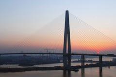 A bridge. A grand beautiful bridge at sunrise in China Royalty Free Stock Images