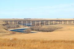 Bridge. An old train bridge in a prairie area Royalty Free Stock Images