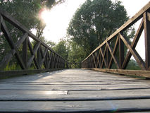 The bridge. A wood bridge and a sunset Stock Images