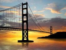 Bridge. Golden Gate Bridge over sunset Stock Photo