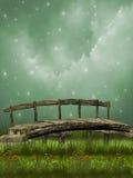 Bridge. Old wooden bridge in the garden Royalty Free Stock Images