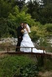 On the bridge. Wedding pair on the bridge Stock Image